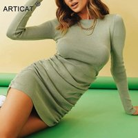 Articat Sexy Cotton Ribbed Dresses For Women Clothes Autumn Winter Long Sleeve Side Ruched Mini Bodycon Party Dress Casual
