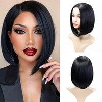 합성 가발 Houyan 가발 녹색 여성 짧은 및 중간 똑 바른 머리 긴 천연 아가씨 검은 분홍색