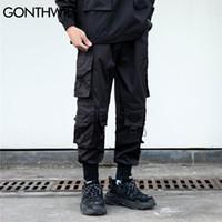 Gonthwid Pantolon Streetwear Hip Hop Çok Cepler Rahat Kargo Harem Joggers Pantolon Erkek Moda Gevşek Baggy Punk Askeri Pantolon Q0320