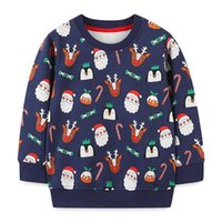 Hoodies & Sweatshirts Kids Boys Pullover Cotton Sweatshirt Long-sleeved Cartoon Print Christmas Outerwear Costume For Kid 2-7T