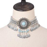Statement Choker Kragen Halskette für Frauen Böhmische Vintage Blume Kristall Strass Ethnische Zigeuner Perlen Münze Quaste Schmuck