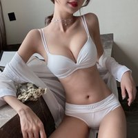 Bra Sets White underwear women's small chest gathered without steel ring adjustable breast no trace thin back suit Z86V