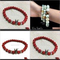Kunst, Handwerk Geschenke Home Gardenturkolor Rote Farbe Perlen Antique Crown Charms Stretch Seil Armband Elastische Schnüre Naturstein Erweiterbar