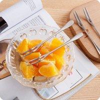 Edelstahl Dessert Fruchtgabel Haushalt Geschirr Dessert Kuchen Gabeln Tragbare Verlangsame Hotel Küche Glatte Griffgabeln FWE6643