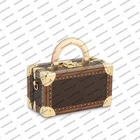 M45673 Valisette Tresor Kadın Çantası Lüks Tasarımcı Giyilebilir Hard Case Saklama Kutusu Messenger Çanta Tuval Dana Deri Taşıma Çanta Omuz Çantası
