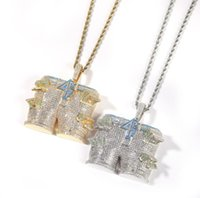 Hip hop $4pf pants Pendant necklaces for men women luxury designer mens bling diamond gold chain necklace jewelry love gift