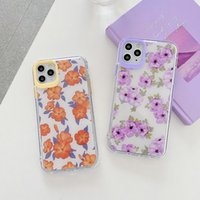 Pequeno padrão floral cintilante pó tpu casos de telefone para iphone 12 11 pro promax x xs max 7 8 plus