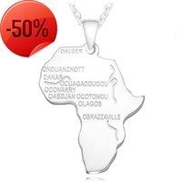 الفولاذ المقاوم للصدأ أفريقيا خريطة قلادة ذهبي اللون قلادة سلسلة الأفريقي الهيب هوب هوب هيوت للرجال النساء 4 ألوان مجوهرات إثيوبية