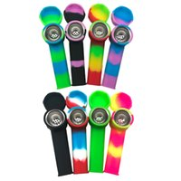 Colorful Mini Smoking Silicone Tobacco Pipe Protable Hand Silicon Pipes with Carb Cap for Glass Water Bongs Dab Rig DHL