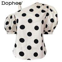 Women's Blouses & Shirts Puff Sleeve Oblique Shoulder Tops For Women 2021 Summer Diamond Bead Polka Dot Blouse Strapless All-Match Short Shi