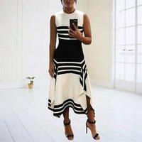 Casual Dresses Summer Women Fashion O-Neck Striped Tank Sexy Office Ladies Sleeveless Slim Evening Party Long Dress Vestidos#35