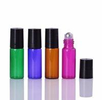 Portable 500pcs 5ml(1 6 oz) MINI ROLL ON bottle fragrance PERFUME GLASS BOTTLES ESSENTIAL OIL Steel Metal Roller ball SN5706