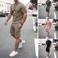 Men's Tracksuits 2021 Summer T-shirt And Shorts Set Casual Solid Color Fashion Men 2 Pieces Trendy Streetwear Male Sweatsuit Sportswear
