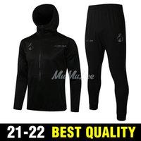 21 22 Yetişkin Seti Gerçek Madrid Siyah Futbol Kapşonlu Ceket Seti Zidane Benzema Modric Srergio Ramos Kroos Futbol Eğitimi Takım Elbise