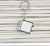Party Gifts Heat Transfer Key Chain Double Sided Sublimation Blanks Love Heart Circular Square Metal Ring Mirrors Buckle Printing Photo SN2305
