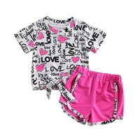 Clothing Sets 2021 Summer Kids Baby Girls Casual Clothes Children Heart Letter Short Sleeve T-shirt Tops +Shorts Outfits Tracksuits 1-6Y