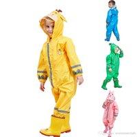 Waterproof Kids Raincoat 3 -9 Years Old Children Cartoon Frog Rainwear Hooded Boys Girls Raincoat Outwear Camp Poncho Kids Rain Jumpsuit