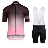 Rapha 남자 사이클링 저지 자전거 의류 Ropa Ciclismo 짧은 소매 셔츠 MTB 자전거 젤 패드 턱받이 반바지 세트