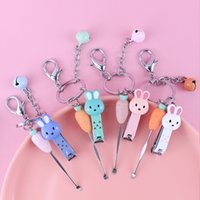 2021 Fashion Keychain Portable rabbit radish nail clipper ear spoon set girl's heart bag pendant key ring cute