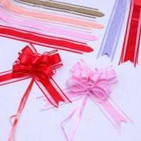 100 pz di grandi dimensioni 50mm bianco tinta unita pull pull fiocco regalo imballaggio fiore fiocco bowknot apertura cerimonia partito nozze decorazione automobile 1932 v2