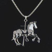 Anhänger Halsketten Mode Silber Schlangenkette Lange Halskette Strass Perle Karussell Pferd Charm Pullover Frauen Liebe Geschenk