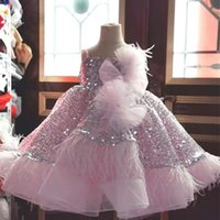 2021 Pink Sparkly Flower Girl Dresses Ball Gown Feather Sequined Tulle Lilttle Kids Birthday Pageant Weddding Gowns ZJ003