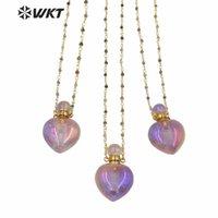 WT-N1238 놀라운 우아한 돌 목걸이 18 인치 심장 모양의 Aura 보라색 향수 병 묵주 체인 펜던트 목걸이