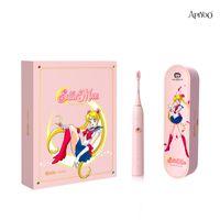 Apiyoo elektrische zahnbürste segeln moon sonic vollautomatisch wiederaufladbare orale pflege mit 2 zahnbürstenköpfe rosa