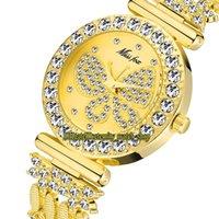 Missfox Ewigkeit 2030 Freizeit Mode Dame Uhren CZ Diamanten Inlay Schmetterling Muster Zifferblatt Quarzwerk Womens Watch Legierung Fall Diamant Gold Armband