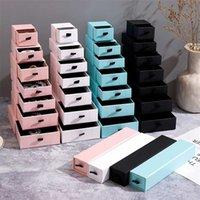 10 pcs caixa de embalagem de jóias de papelão para anel colar pulseira pingente vermelho pacote de pacote de café preto 211014