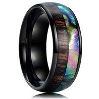 Anneaux de mariage 8mm Hommes Black Tungstène Bague en carbure de la mode en bois de bois Engagement de l'incrustation pour hommes Bande bijoux