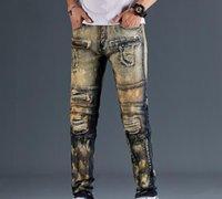 Hot Mens Designer Jeans Distressed Ripped Biker Slim Fit Motorcycle Biker Denim For Men s Top Quality Fashion Mans Pants s