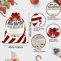 عيد الميلاد سانتا كيس كبير عيد الميلاد قماش هدية حقيبة مع الرباط قابلة لإعادة الاستخدام شخصية أفضل هدية تخزين حزمة عيد الميلاد عن طريق البحر HWD9397