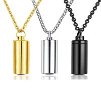 Stainless steel cylinder pendant necklace for funeral commemorative ashes urn Cremation jewelry souvenir gold, silver, black