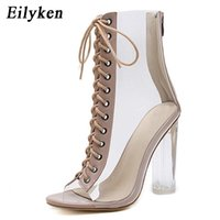 Eilyken New Sexy PVC Transparent Gladiator Sandals Peep Toe Shoes Clear Chunky heels Sandals Women Boots Sandals 210324