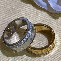 الفاخرة عالية الجودة التيتانيوم الصلب الجوف إلكتروني خاتم للرجال النساء أزياء الاتجاه كبير الذهب والفضة 2-اللون زوجين الدائري
