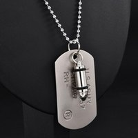 Pendant Necklaces High Quality Fashion Men Military Army Charm Dog Tags SINGLE EMBOSSED Chain Necklace Jewelry Gift