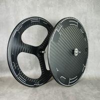 700c Roda de Carbono Preço Frente Tri-Speok Traseira de Disco Traseira ou Estrada Bicicleta Calceiro / Tubular / Tubeless RIM Wheelset com 12k Twill Fashion Finish