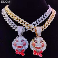 Men Women Hip Hop Movie Saw Mask Pendant Necklace with 13mm Miami Cuban Chain Iced Out Bling HipHop Necklaces Charm Jewelry H0918