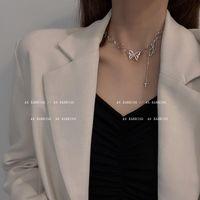 Chains Korea Fashion Butterfly Necklace Simple Star Woman Retro Hip Hop Rock Style Pendant Aesthetic Cross Streetwear