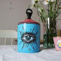 Sternenhimmel Kerzenhalter mit Hand Deckel Kerze Glas Kreative Keramik große Augen Kerzenhalter