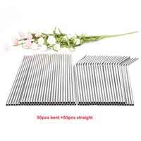 Wholessale 100pcs  Lot Metal Straws Reusable High Quality 304 Stainless Steel Drinking Tubule 267mm *6mm E -Co Friendly Bent Straws