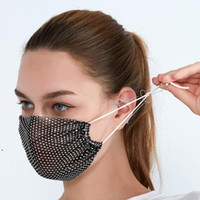 Nueva moda colorido Mash Mashs Bling Diamond Party Mask Rhinestone Grid Net Mask Lavable Sexy Hollow Máscara para Mujeres Bar Party Decor EWF500