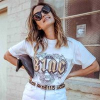 Boho Letter Print Graphic Tees Women Summer Short Sleeve Round Neck Cotton T-Shirt Shirts Casual Vintage Cozy Tshirts Tops 210323