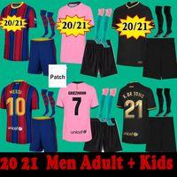Homens Adulto Kids FC Barcelona 20 21 22 Jerseys de futebol Meias curtas Conjunto completo Kits Braithwaite Ansu Fati 2021 2022 Griezmann Messi Futebol Camisas