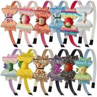 파티 용품 그라디언트 컬러 스팽글 나비 어린이 무지개 활 머리띠 머리 액세서리 GWF8065