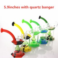 """4.5"""" Assemble Silicone Bong have Shower Hookahs Head percolator Easy clean Dab Rigs with 4mm quartz banger silicones pipe mini glass bongs"""