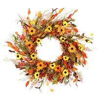 Decorative Flowers & Wreaths Fall Floral Wreath,Autumn Wreath For Front Door Orange Yellow Red Daisy Flower Artificial Home Decor