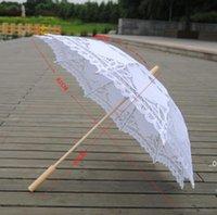 Color sólido Partido Paraguas parasols sol algodón bordado paraguas nupciales Boda Colores blancos Disponible Envío de mar FWA8102