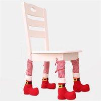 Рождественская стола для стола для ножной крышки дома Рождественские украшения обеденные столик стул крышка стул нога рождественские кресла чехлы